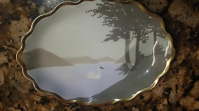 "Antique Dresden B.T Co. Germany White Swan 6"" Trinket Soap Dish 1890-1920"