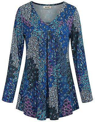 a132a2e709c318 BEPEI Womens Long Sleeve V Neck Shirts Floral Casual Loose Flowy Tunic Tops