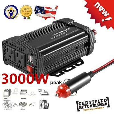 1500W 3000W Watt  Power Inverter DC 12V to AC 110V For Car Truck USB Charger HOT