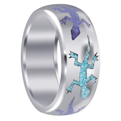 Men's 925 Sterling Silver Lizard Blue Turquoise and Lapis Inlay Band Ring