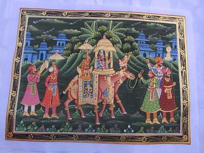 Handmade Ethnic Painted Indian Mughal, Mogul Camel Vintage Art Painting On Silk