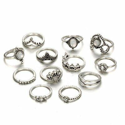 12PCS Hollowed Out Heart Shaped Water Drops Imitation Jewel Finger Rings Set ZQ