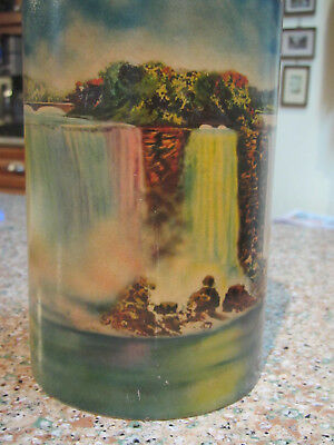"""1920-30's Scene in Action Niagra Falls paper label on 6"""" round glass Insert"""