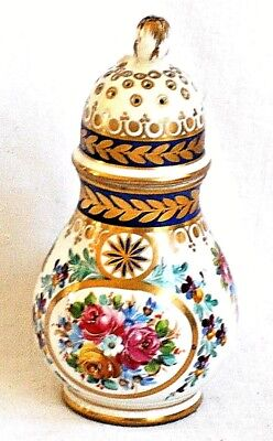 C18Th Serves Hand Painted Shaker Decorated With Roses And Gilding