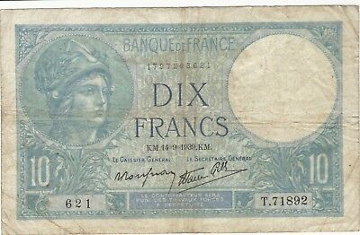 1939 10 Francs France French Currency Banknote Note Money Bank Bill Cash Wwii