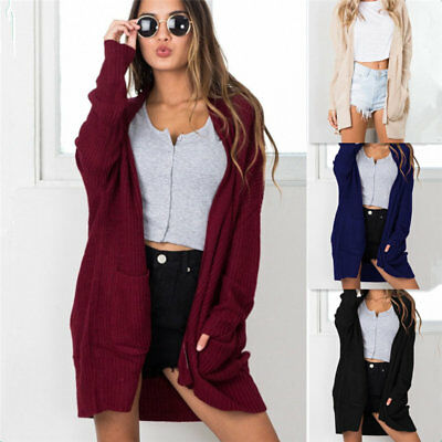 Womens Cardigan Long Sleeve Knitted Cardigan Outwear Jacket Coat Knitted Sweater