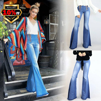 Women Slim Fit Flare Jeans High Lace Up Waisted Stretch Denim Long Pant US 6-14