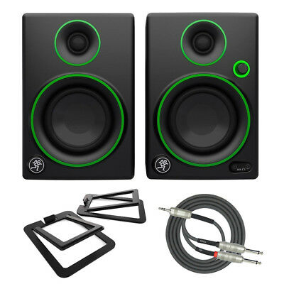 """Mackie CR3 3"""" Multimedia Monitors with Kanto Stands and Cable Bundle"""