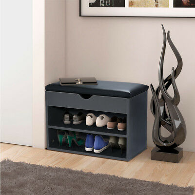 2-Tier Wooden Shoe Storage Organizer Bench Shoe Cabinet with Padded Seat Cushion
