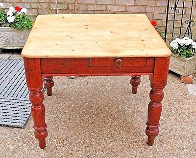 Old Antique waxed pine top Victorian kitchen dining Scrub Top Table with drawer