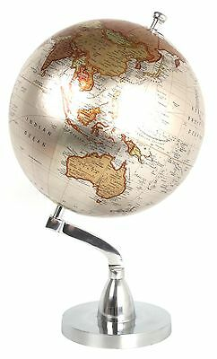 Polished Metal Decorative Rotating Globe World Map 20Cm Diameter