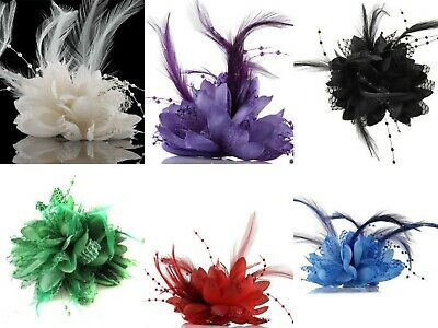 Flower Feather Fascinator Bead Beak Hair Clip Brooch Ladies Wedding Races UK