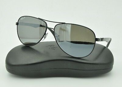 4a04a5da33 Ray Ban RB 8313 Sunglasses 002 K7 Black   Gray Mirror Polarized Lenses 61mm
