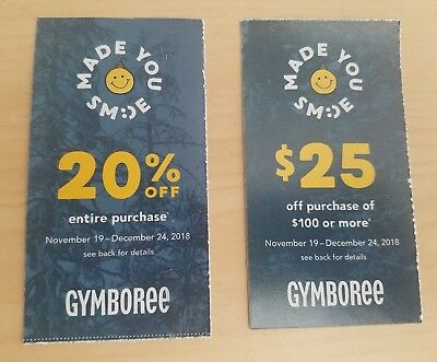 2 Gymboree Coupons: 20% Off Entire Order + $25 off $100 or More - Exp 12/24/2018