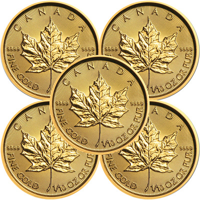 Lot of 5 - 2019 $5 Gold Canadian Maple Leaf .9999 1/10 oz Brilliant Uncirculated