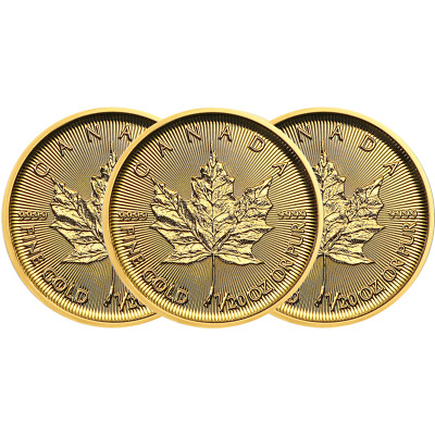 Lot of 3 - 2019 $1 Gold Canadian Maple Leaf .9999 1/20 oz Brilliant Uncirculated