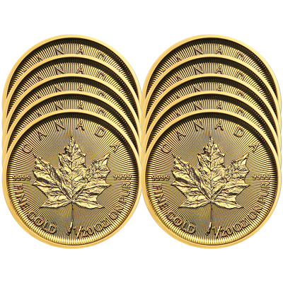 Lot of 10 - 2019 $1 Gold Canadian Maple Leaf .9999 1/20 oz Brilliant Uncirculate