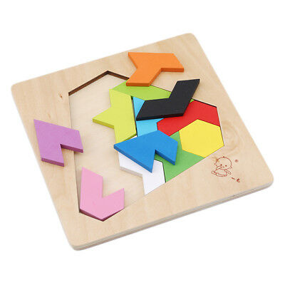 Wooden IQ Game Jigsaw Intelligent Tangram Brain Teaser Puzzle Baby Kid Toy LD