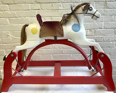Vintage ANTIQUE C Glider Rocking Horse, Real Horse Hair; Whitney Reed