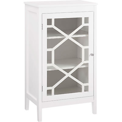 Linon Fetti Small Wood Home Storage Cabinet Glass Front Display- 20in.W- White