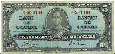 Bank of Canada 1937 $5 Five Dollars Coyne-Towers B/S Prefix Fine King George VI