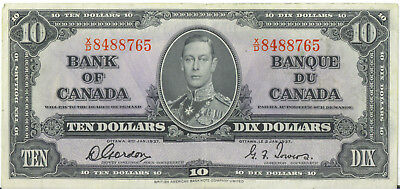 Bank of Canada 1937 $10 Ten Dollars Gordon-Towers X/D Prefix VF/EF King George