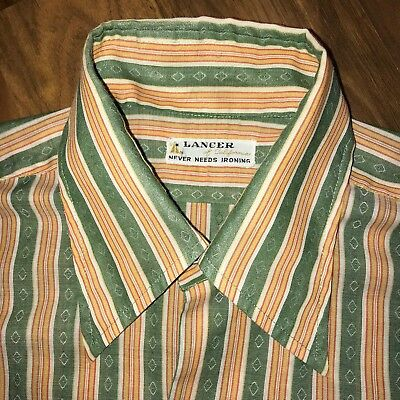 Vtg 50s 60s LANCER California Mens LARGE Striped Hippie Disco Mod Dress shirt L