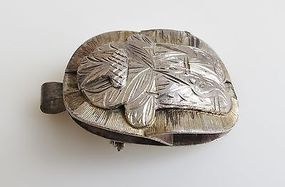 Egyptian retro old scarab beetle  sterling silver engraved pin brooch pendant