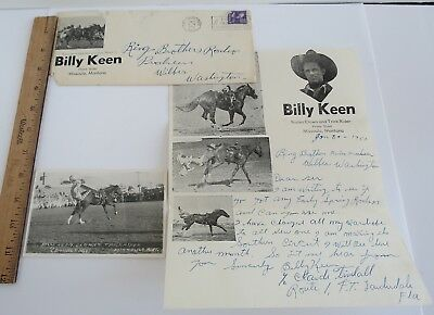 Billy Keen Rodeo Western Clown trick rider Missoula MT Ring Brothers Letter RPPC