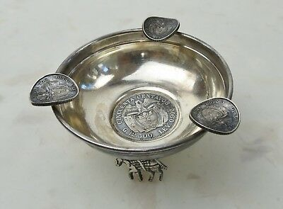 VTG Sterling silver Ashtray Buro donkey feet 1916 Columbia Centavos