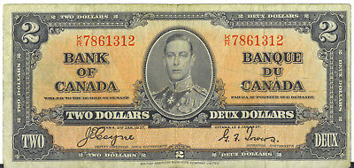 Bank of Canada 1937 $2 Two Dollars Coyne-Towers K/R Prefix Fine King George VI