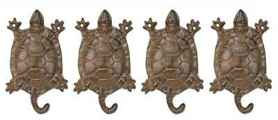 St/4 Cast Iron Turtle Hook Rustic Brown Antique Finish Garden Wall Hangers
