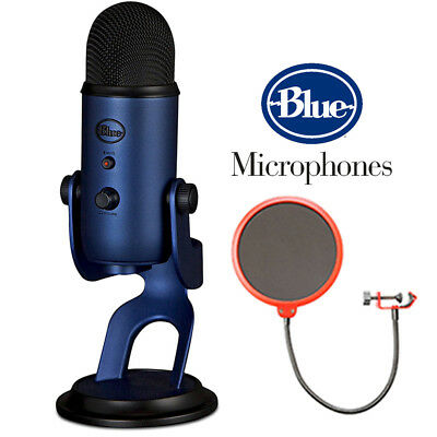 BLUE MICROPHONES Yeti USB Microphone Midnight Blue with Microphone Wind Screen