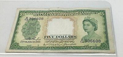 Malaya And British Borneo 1953 Five Dollars $ 5 Pick 2a Queen Elizabeth