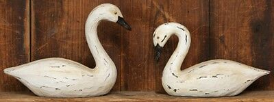 Primitive Country White Swan Bent Neck Goose Pair Farmhouse Tabletop Decor