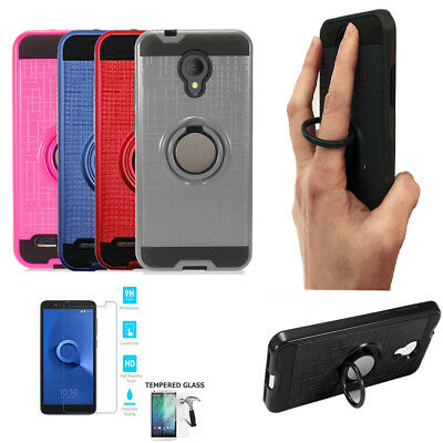 Phone Case For Tracfone Alcatel TCL LX Tempered Glass with Cover Ring-Stand