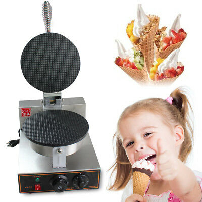 Electric Ice Cream Waffle Cone Egg Roll Maker Stainless Steel Nonstick 110V US