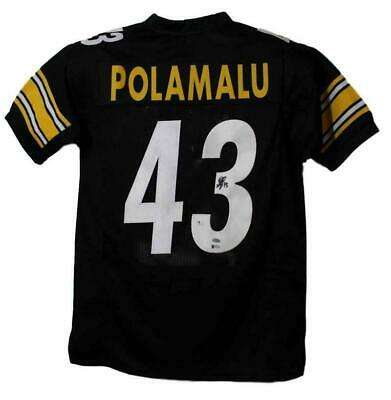 b9cf5885a73 TROY POLAMALU AUTOGRAPHED Pittsburgh Steelers Throwback Jersey Aash ...