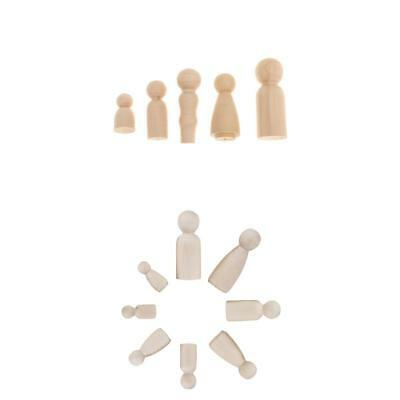 Family of 17 Wood Peg Doll Wooden Figures People DIY Craft Kids Birthday Toy