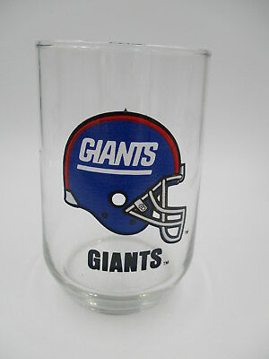 NEW YORK GIANTS gas station premium VINTAGE DRINKING GLASS 1980's MOBIL GAS