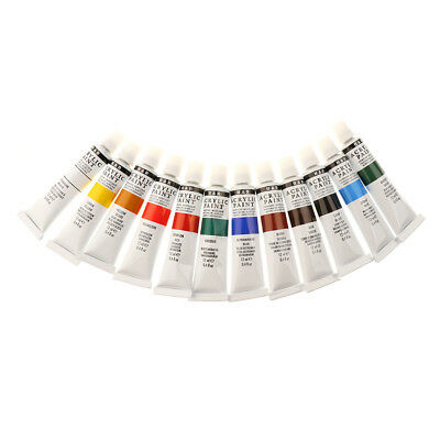 12 Colors Acrylic Paints Tubes Set For Canvas, Wood, Wall, Fabric, Painting,