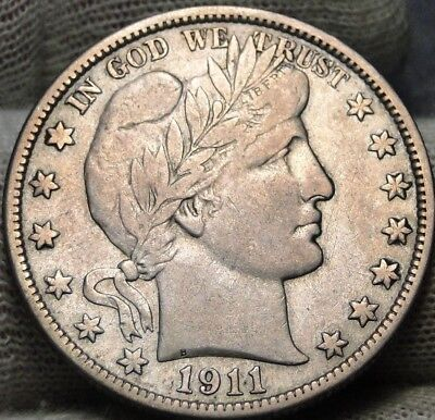 1911D Barber Half Dollar 50 Cents - Key Date 695,080 Minted, Nice Coin  (7272)