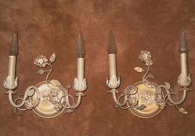 2 Vintage Mid Century Flower Double Wall Light Fixtures Sconce Lamps Italy