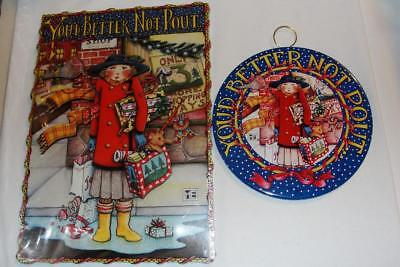 Mary Engelbreit 2 Better Not Pout Plaques - 1 New Cardboard w Stand & Used Round