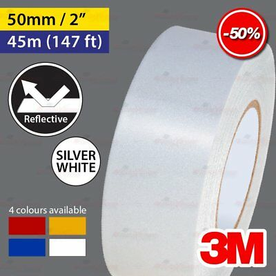 """3M SILVER WHITE 50mm 2.0"""" 45m 147ft Reflective Car Motorcycle Trailor Truck Tape"""