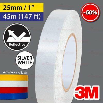"""3M SILVER WHITE 25mm 1.0"""" 45m 147ft Reflective Car Motorcycle Trailor Truck Tape"""