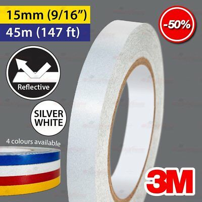 """3M SILVER WHITE 15mm 9/16"""" 45m 147ft Reflective Car Motorcycle Trailor RTV Tape"""