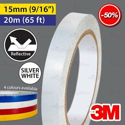 """3M SILVER WHITE 15mm 9/16"""" 20m 65ft Reflective Car Motorcycle Trailor Truck Tape"""
