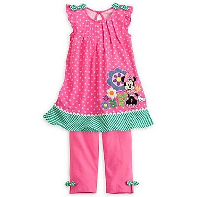 New Disney Store Minnie Mouse Cotton Pink Top Dress And Leggings Set Size 4