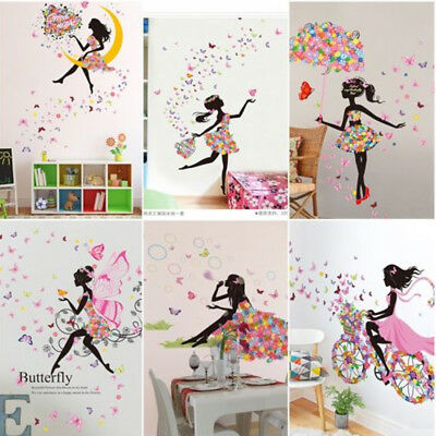 Wall Sticker Vinyl Girls Princess DIY Colorful Wall Stickers Decals Room Decor